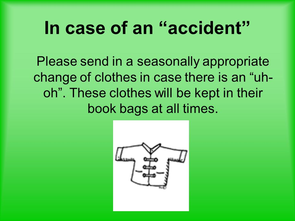 In case of an accident