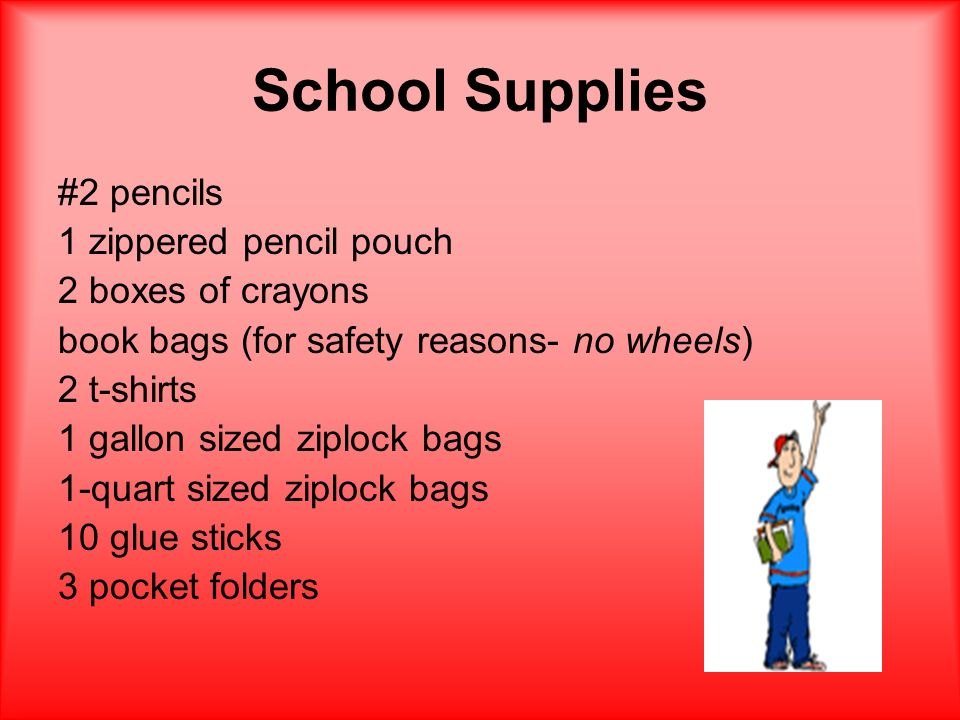 School Supplies #2 pencils 1 zippered pencil pouch 2 boxes of crayons