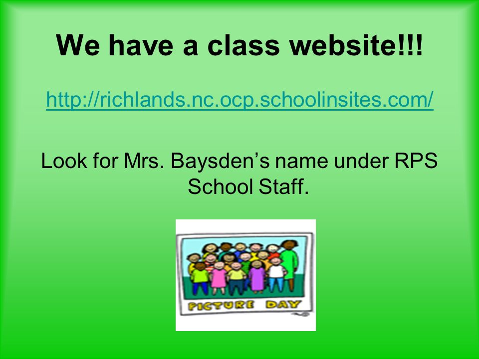 Look for Mrs. Baysden's name under RPS School Staff.