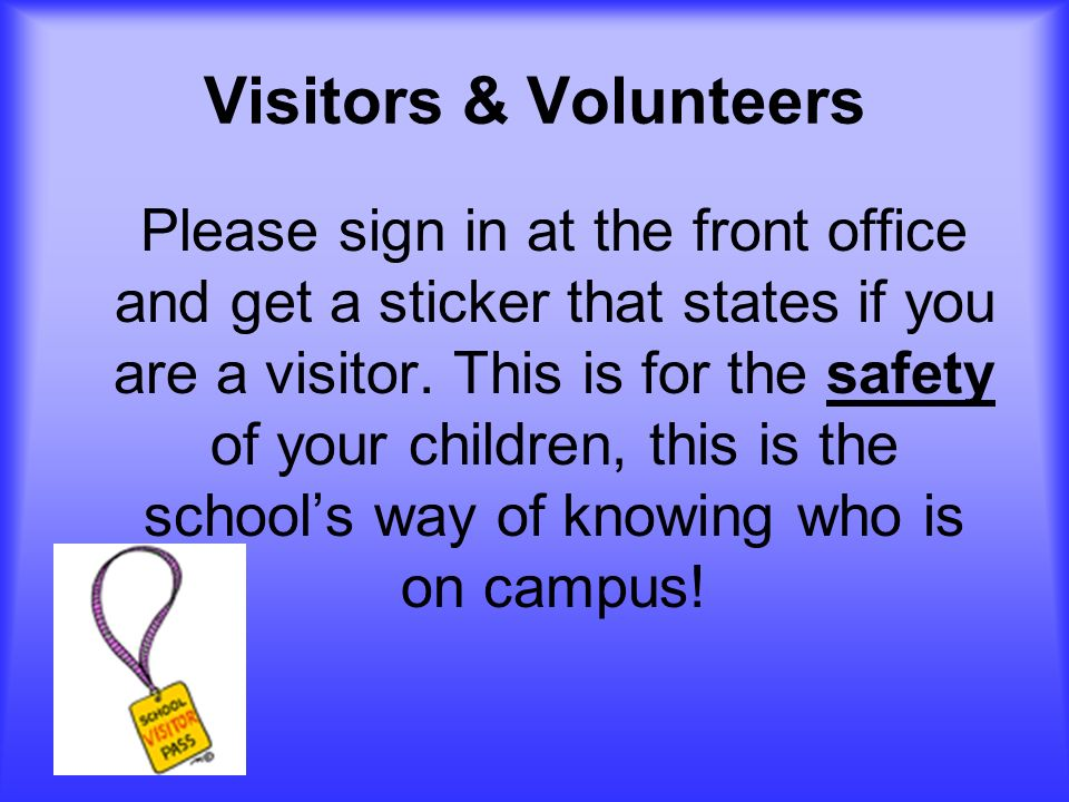 Visitors & Volunteers