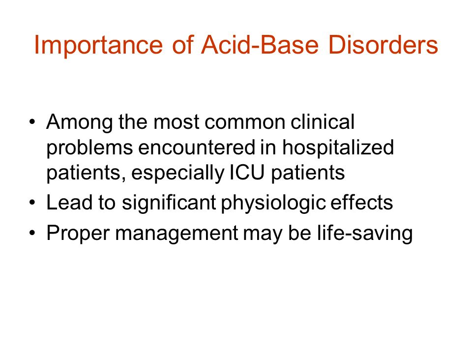 Importance of Acid-Base Disorders