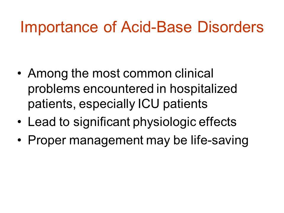 Importance of Acid-Base Disorders