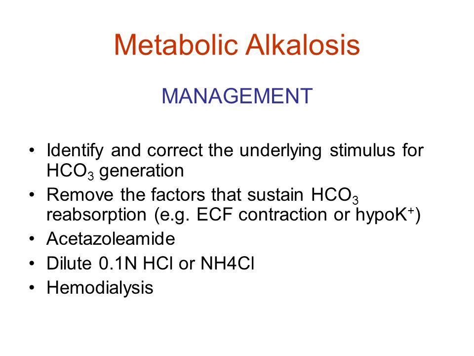 Metabolic Alkalosis MANAGEMENT
