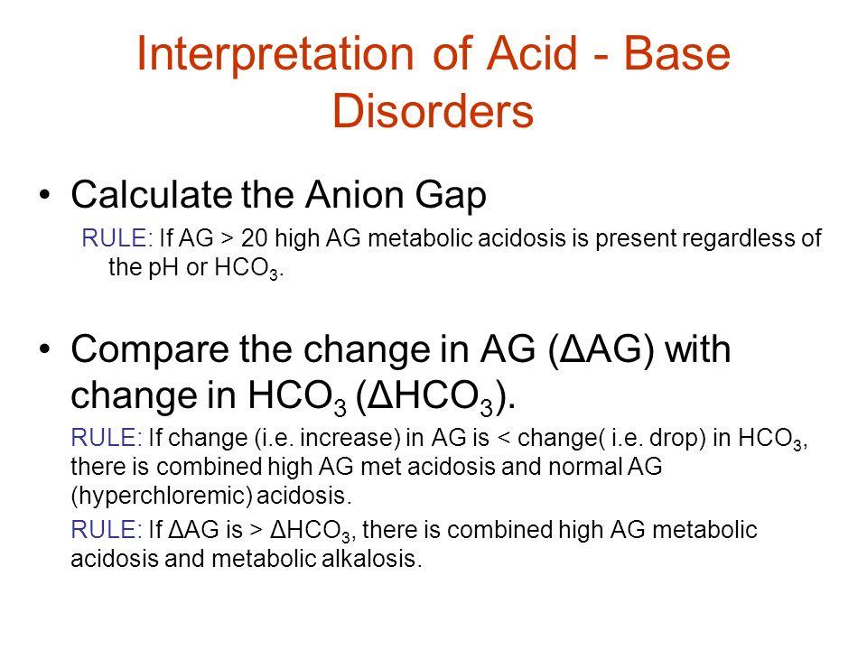 Interpretation of Acid - Base Disorders