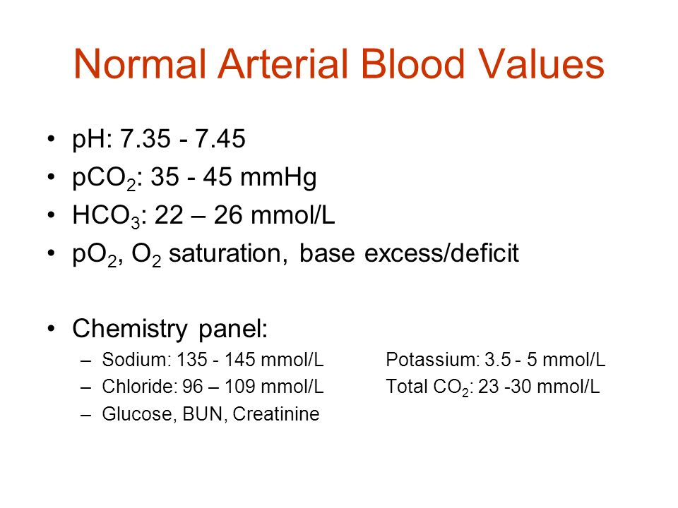 Normal Arterial Blood Values