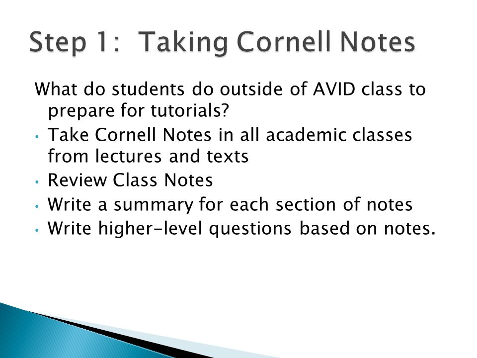 Step 1: Taking Cornell Notes