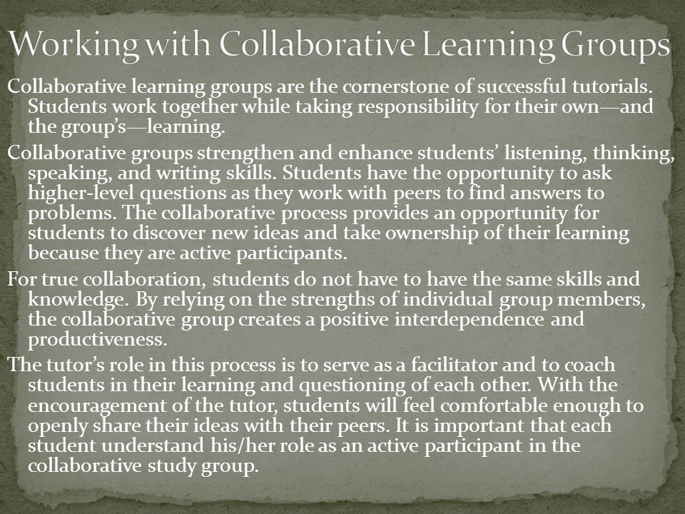 Working with Collaborative Learning Groups