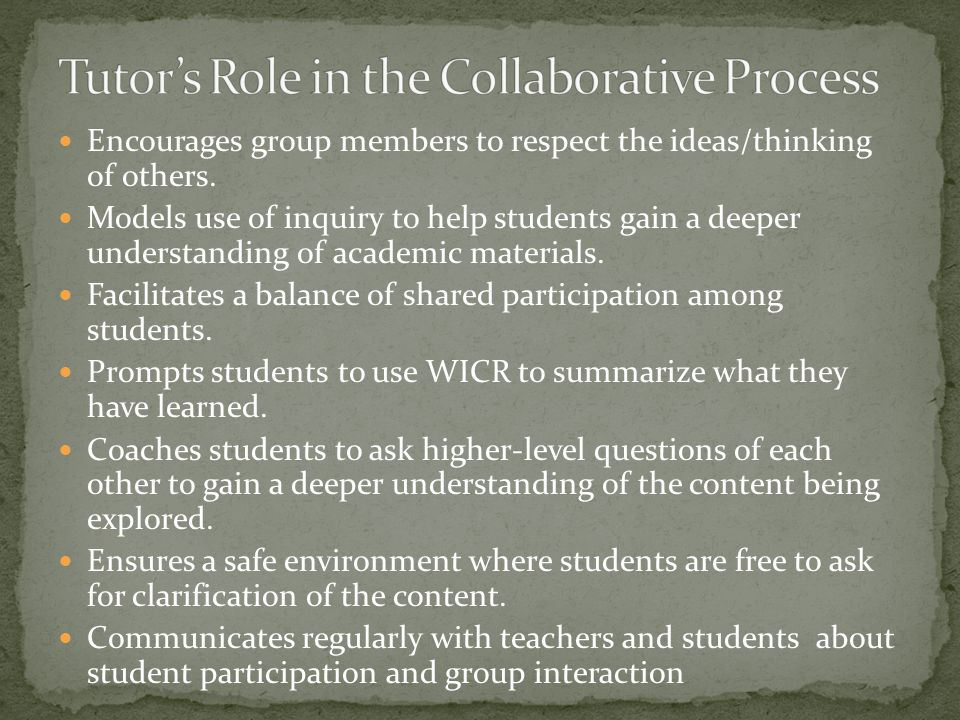 Tutor's Role in the Collaborative Process