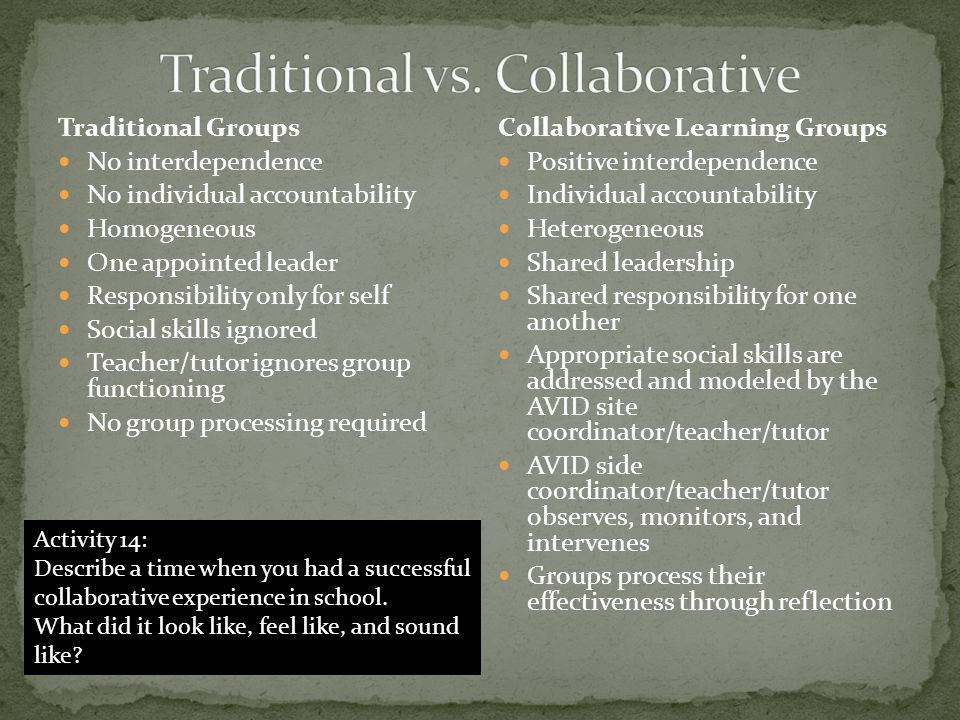 Traditional vs. Collaborative