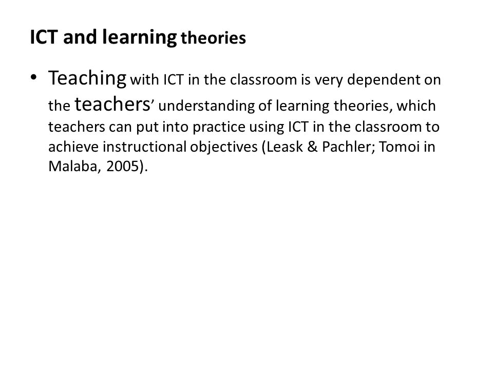 ICT and learning theories