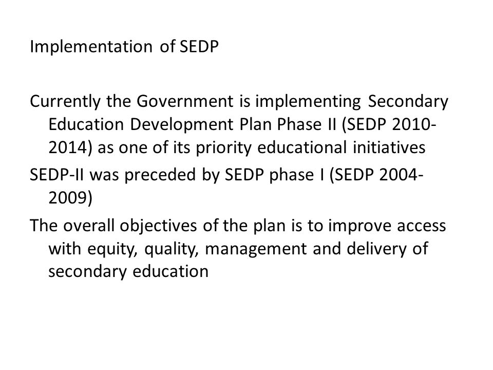Implementation of SEDP