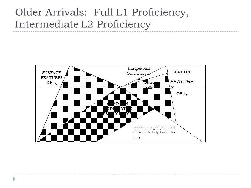 Older Arrivals: Full L1 Proficiency, Intermediate L2 Proficiency
