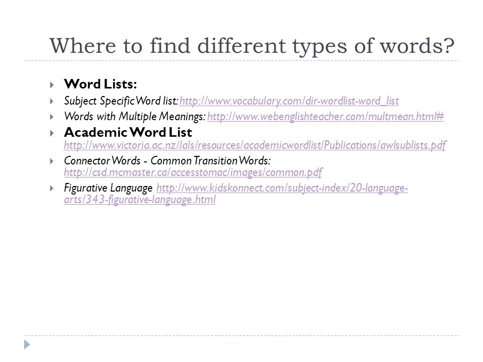 Where to find different types of words