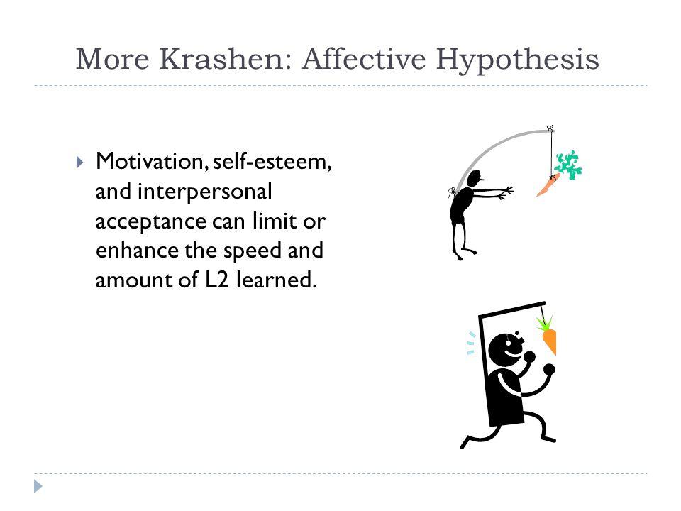 More Krashen: Affective Hypothesis