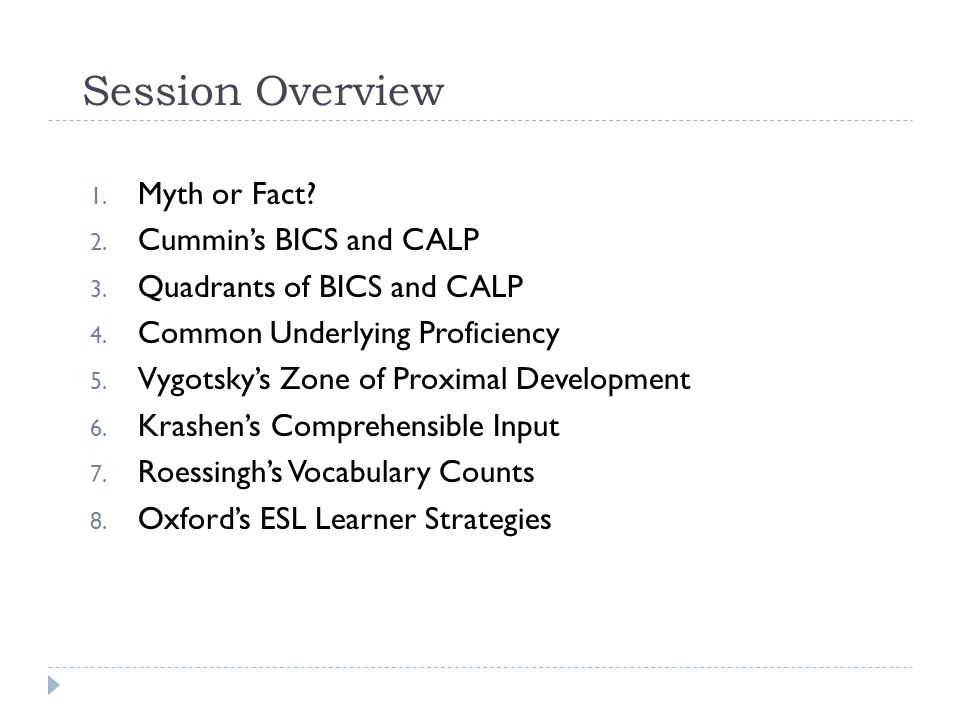 Session Overview Myth or Fact Cummin's BICS and CALP