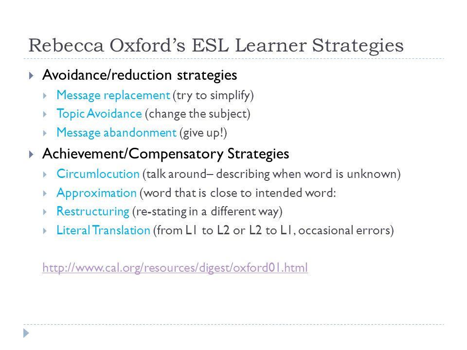 Rebecca Oxford's ESL Learner Strategies