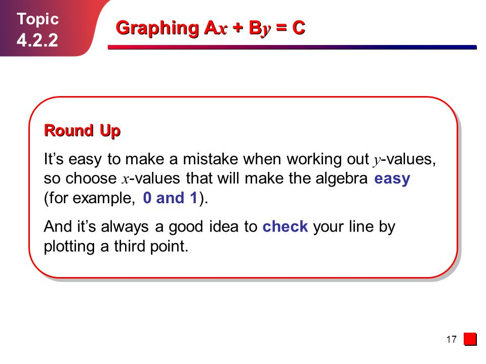 Graphing Ax + By = C 4.2.2 Topic Round Up