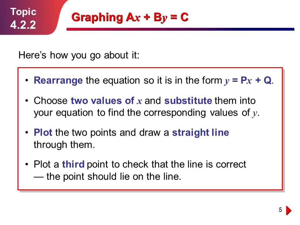 Graphing Ax + By = C 4.2.2 Topic Here's how you go about it: