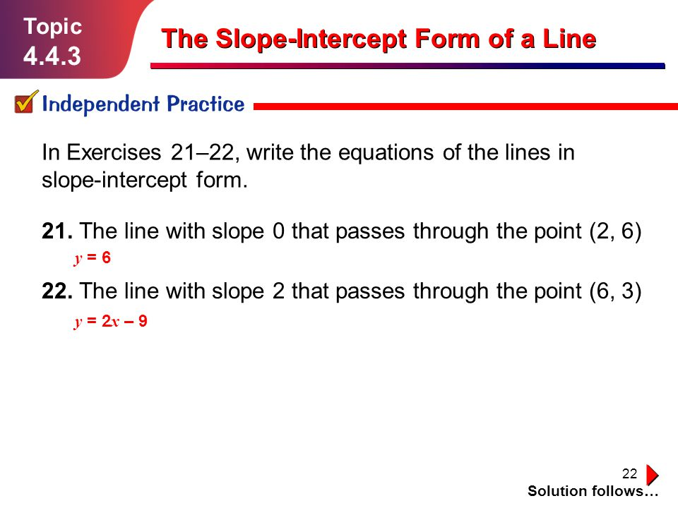 The Slope-Intercept Form of a Line