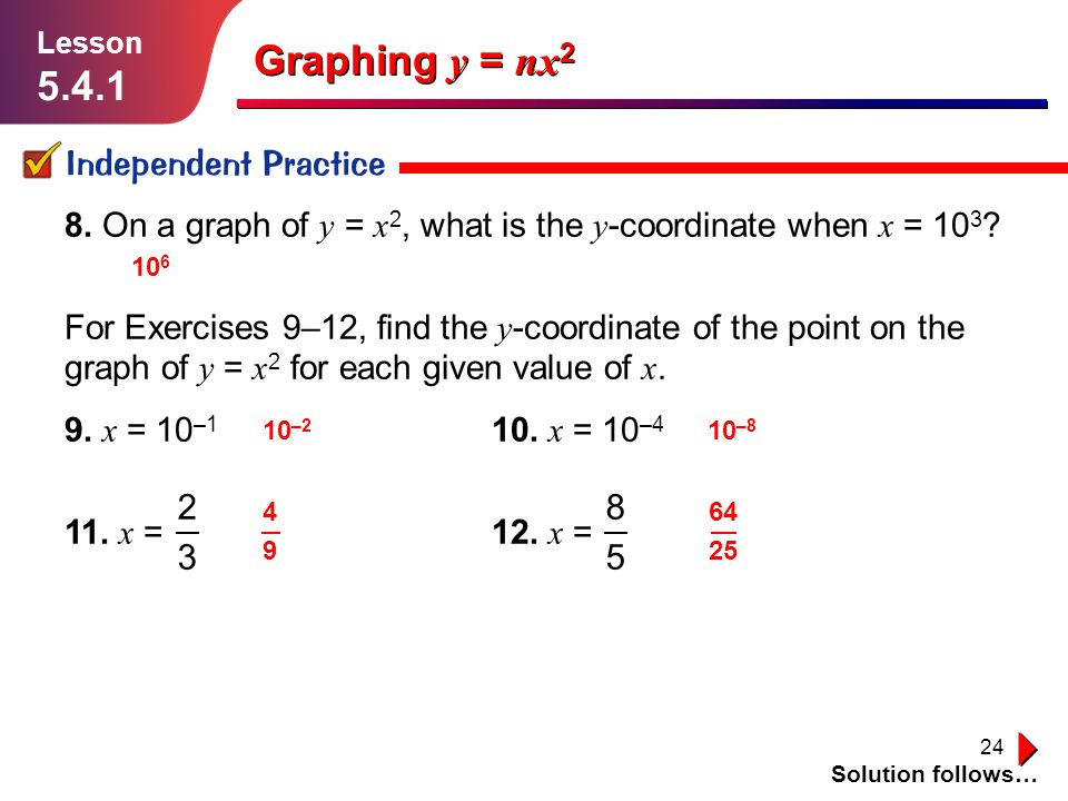 Graphing y = nx2 5.4.1 Independent Practice 2 3 8 5