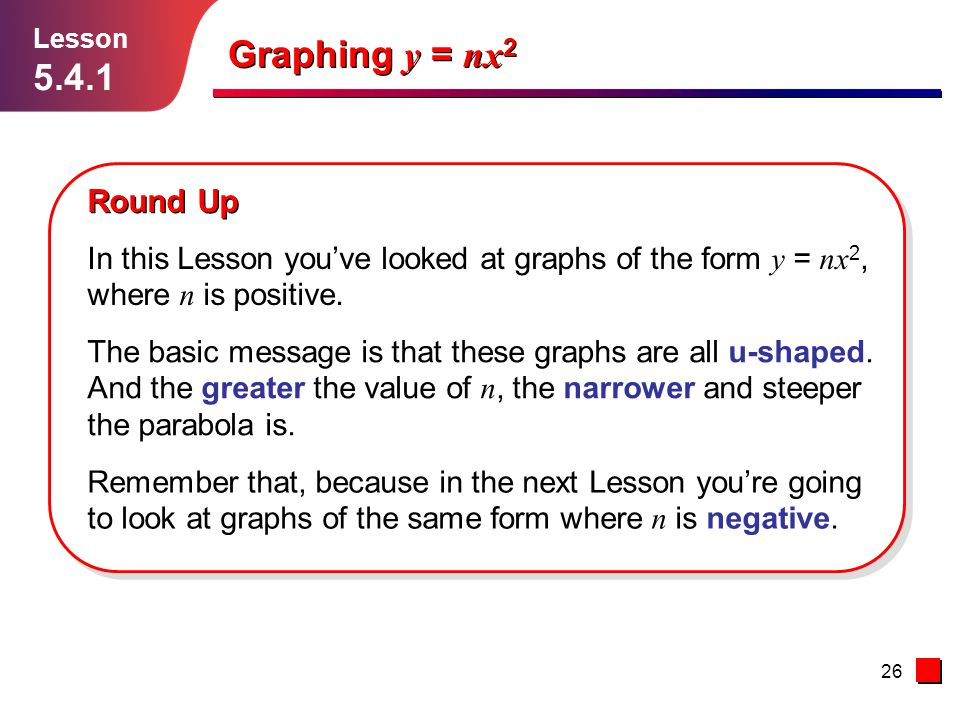 Lesson 5.4.1. Graphing y = nx2. Round Up. In this Lesson you've looked at graphs of the form y = nx2, where n is positive.