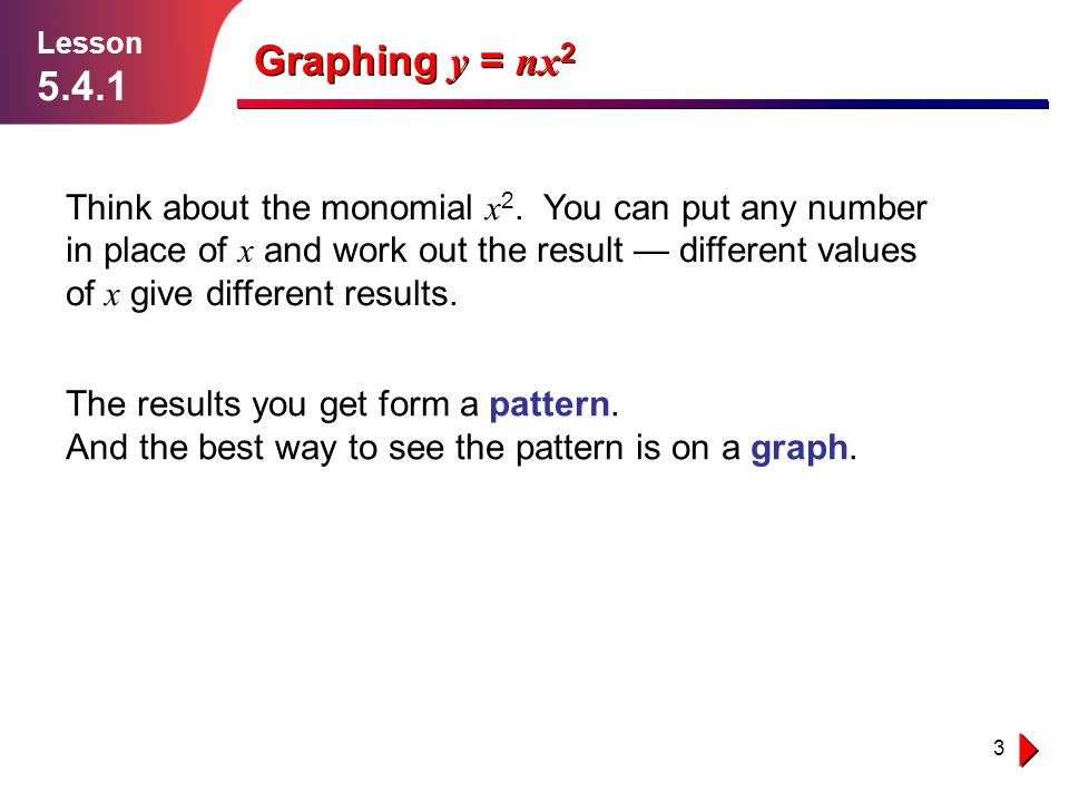 Lesson 5.4.1. Graphing y = nx2.