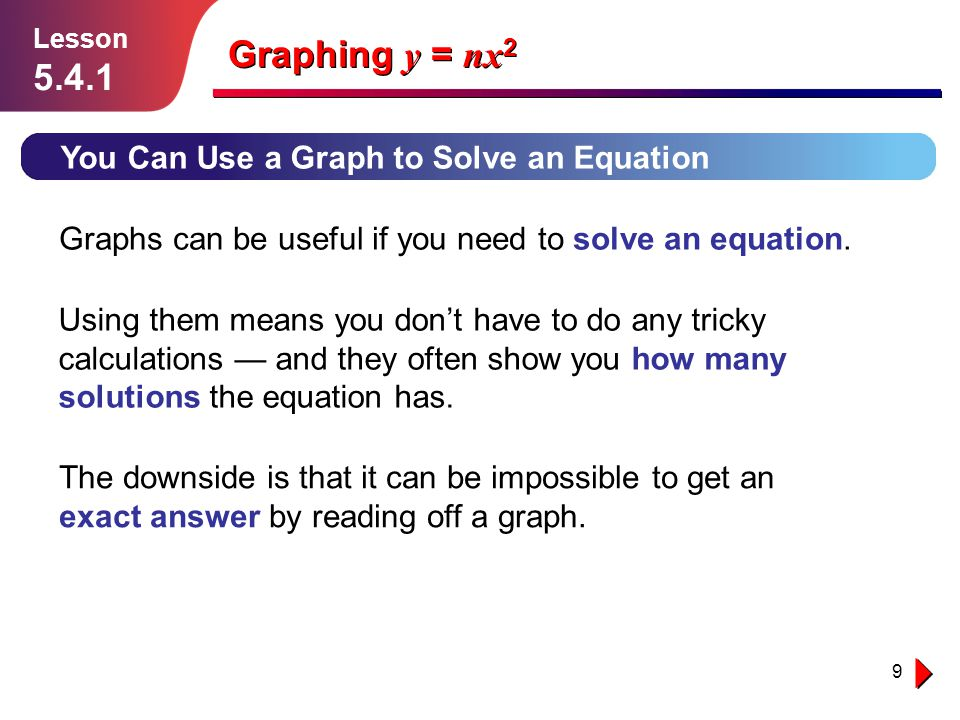 Graphing y = nx2 5.4.1 You Can Use a Graph to Solve an Equation