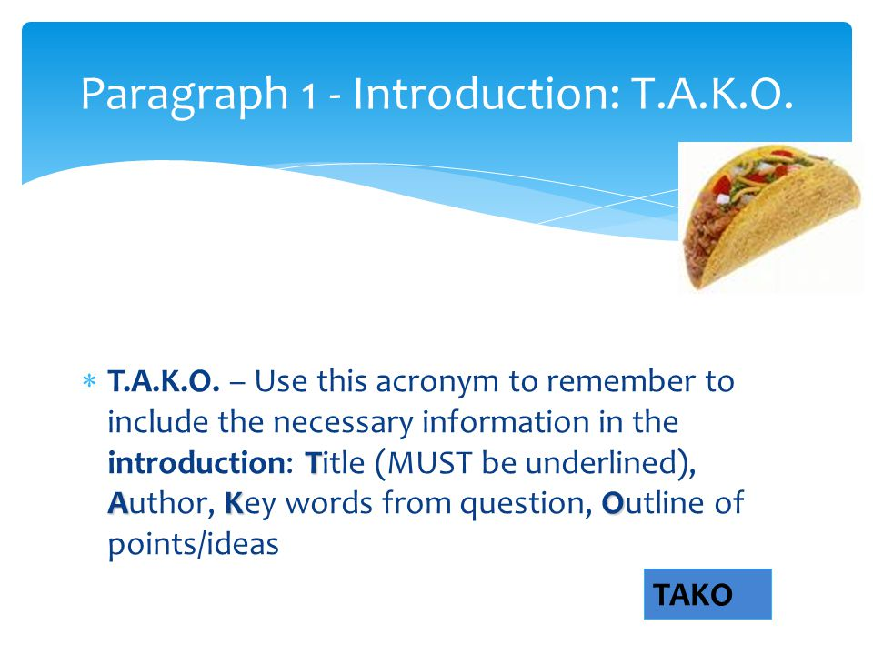 Paragraph 1 - Introduction: T.A.K.O.