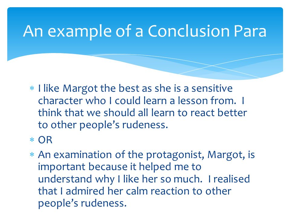 An example of a Conclusion Para