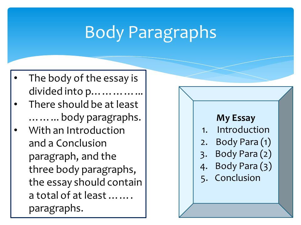 Body Paragraphs The body of the essay is divided into p…………...