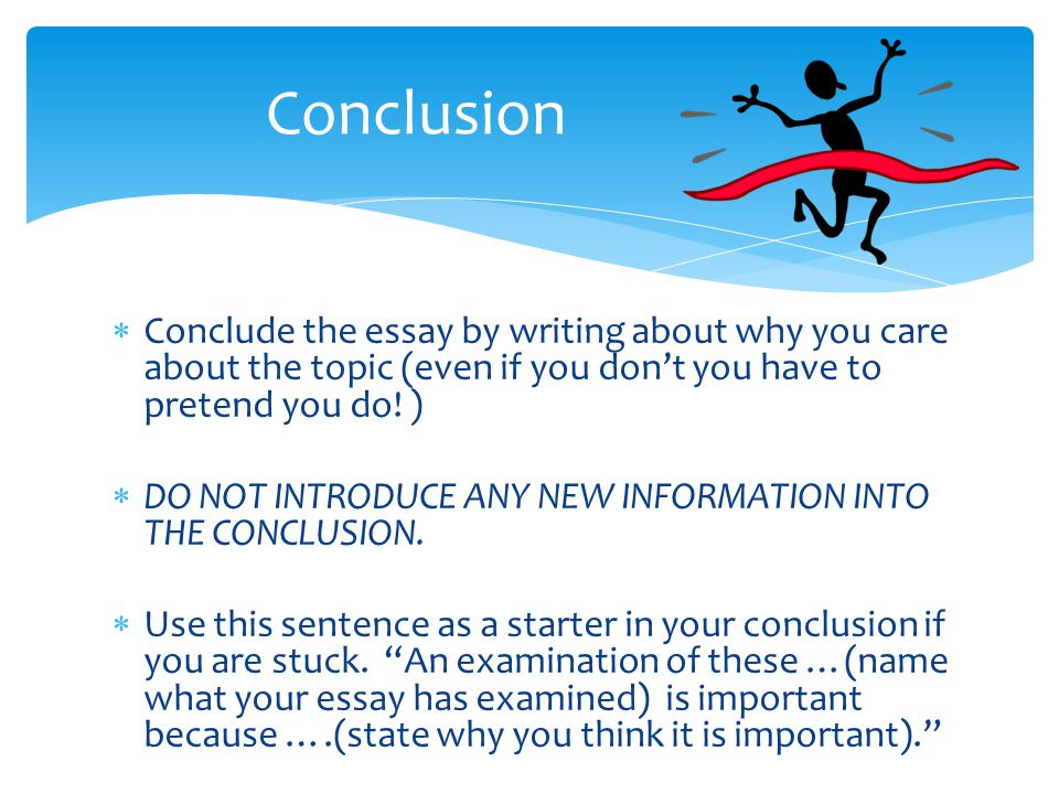 Conclusion Conclude the essay by writing about why you care about the topic (even if you don't you have to pretend you do! )