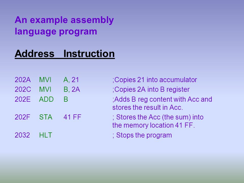 An example assembly language program