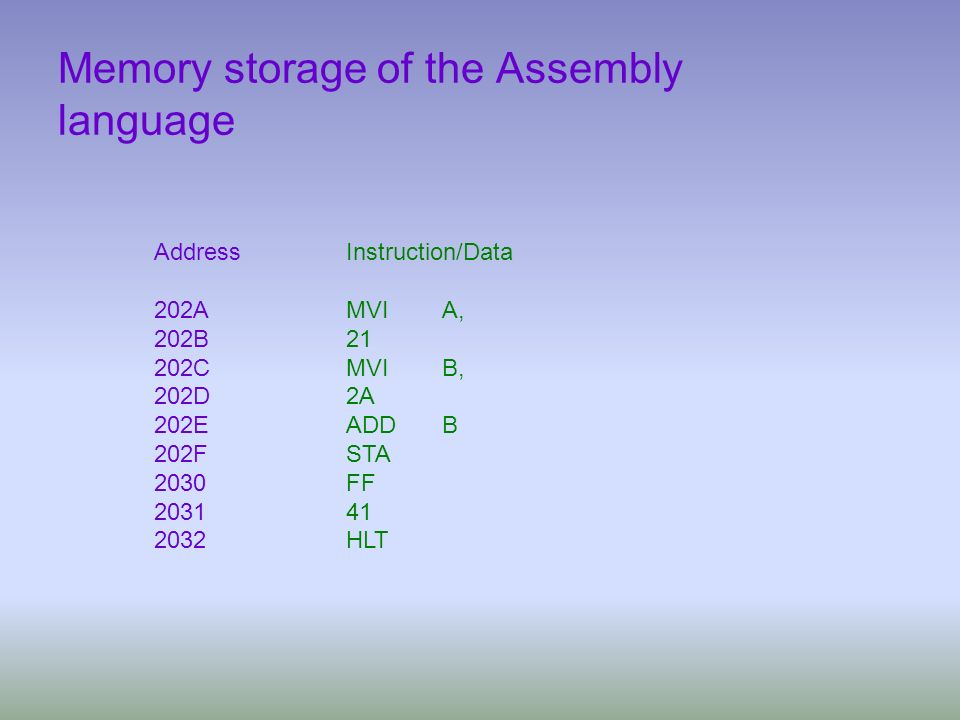 Memory storage of the Assembly language
