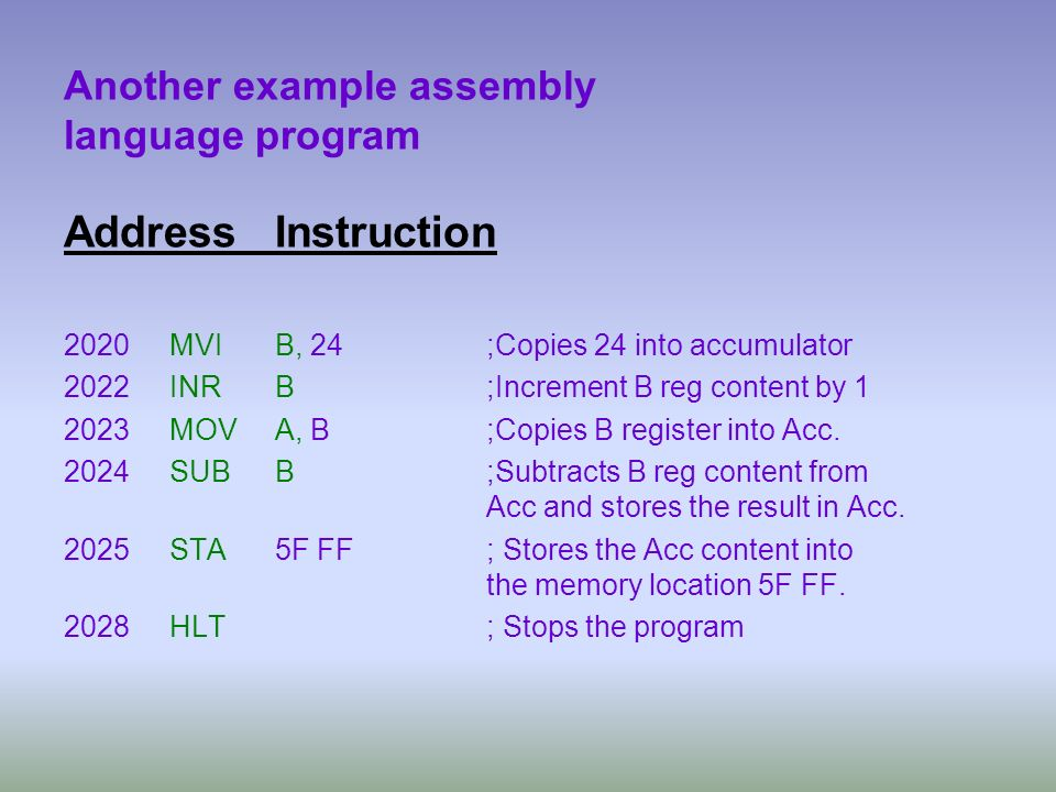 Another example assembly language program