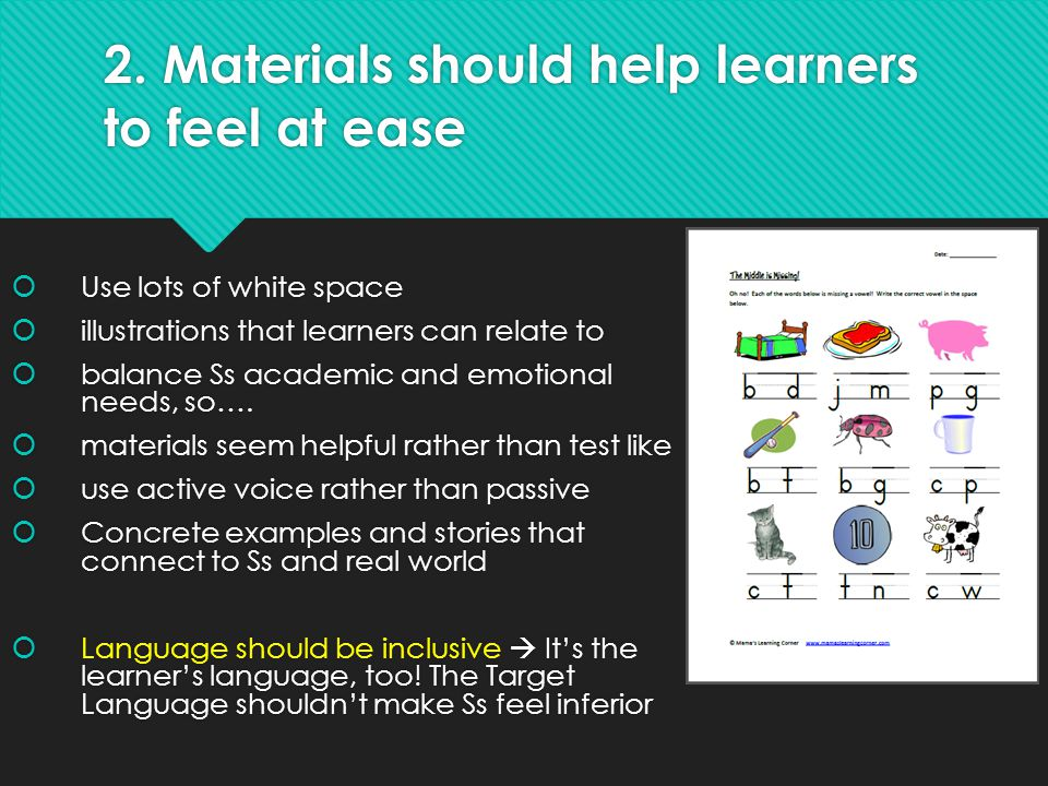 2. Materials should help learners to feel at ease
