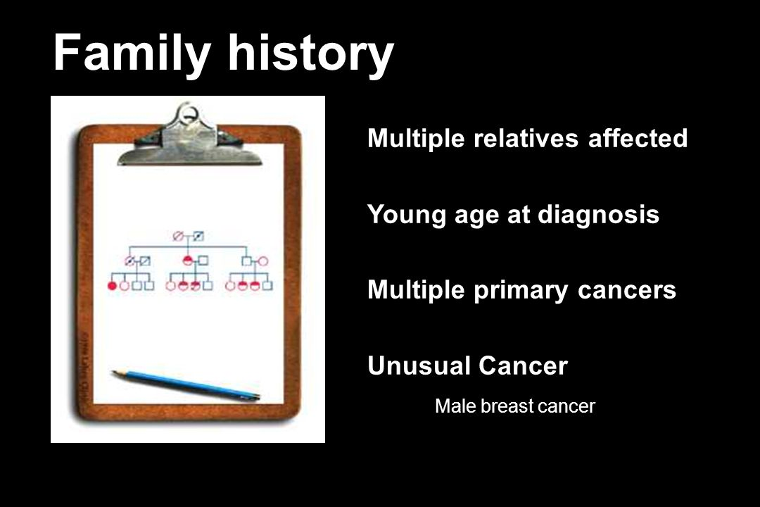 Family history Multiple relatives affected Young age at diagnosis