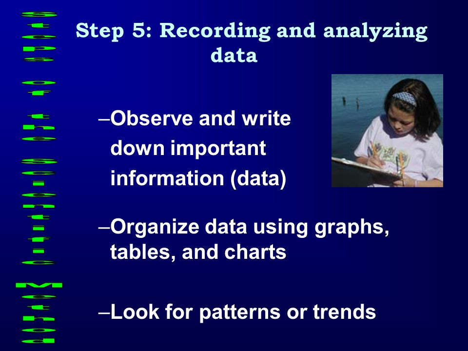 Step 5: Recording and analyzing data Steps of the Scientific Method