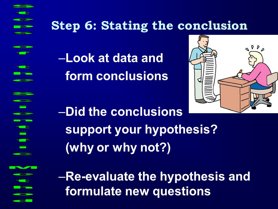 Step 6: Stating the conclusion Steps of the Scientific Method