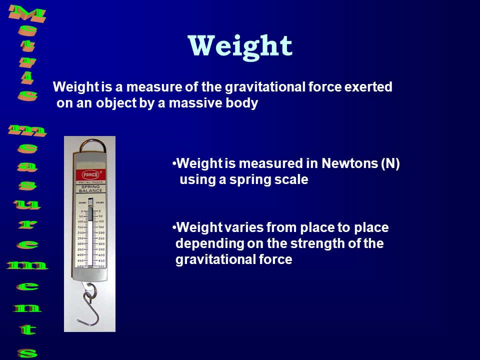 Weight Metric measurements