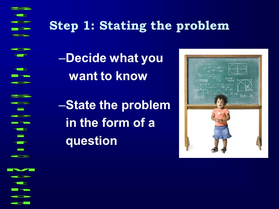 Step 1: Stating the problem