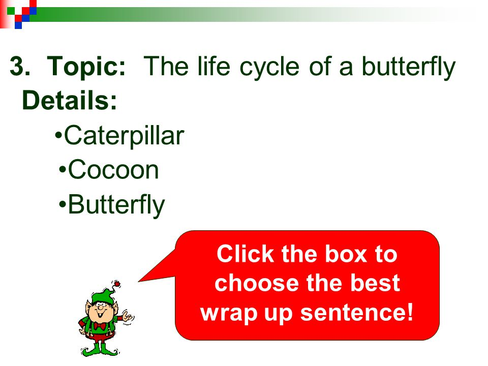 3. Topic: The life cycle of a butterfly