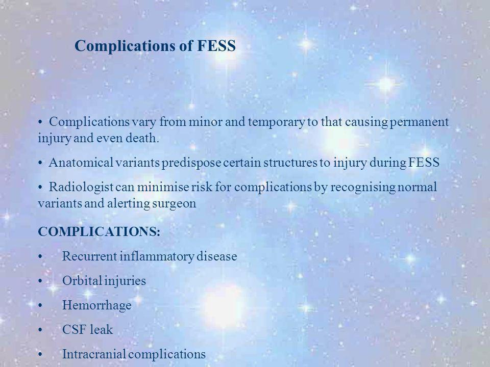 Complications of FESS Complications vary from minor and temporary to that causing permanent injury and even death.