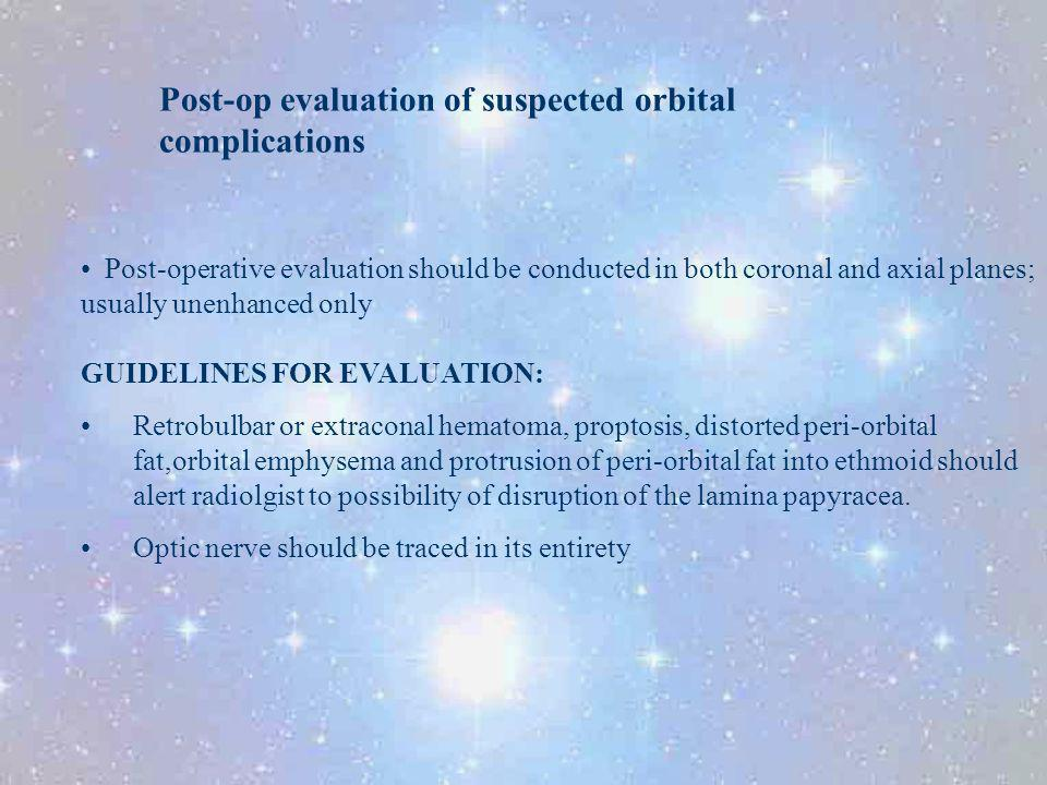 Post-op evaluation of suspected orbital complications