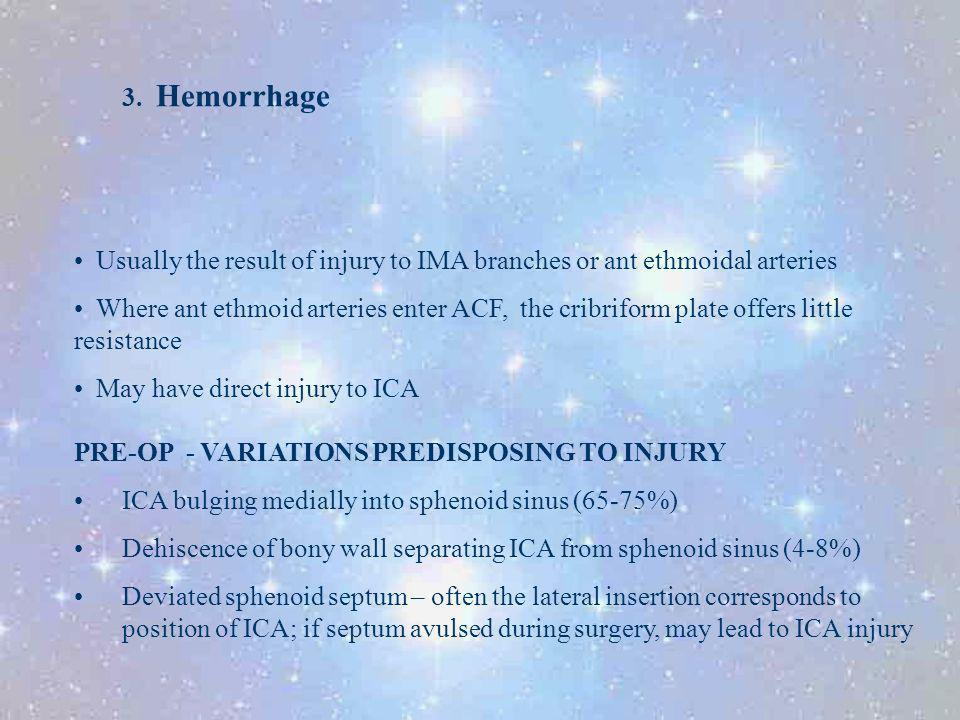 3. Hemorrhage Usually the result of injury to IMA branches or ant ethmoidal arteries.