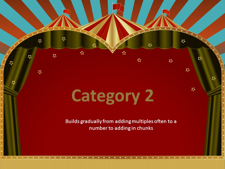Category 2 Builds gradually from adding multiples often to a number to adding in chunks