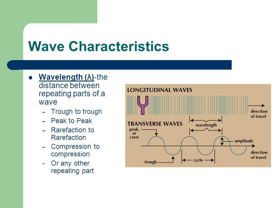 Wave Characteristics Wavelength (λ)-the distance between repeating parts of a wave. Trough to trough.