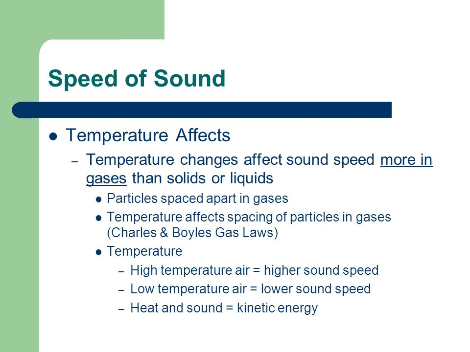 Speed of Sound Temperature Affects