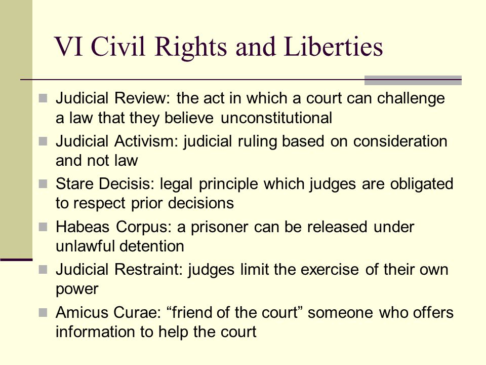 VI Civil Rights and Liberties