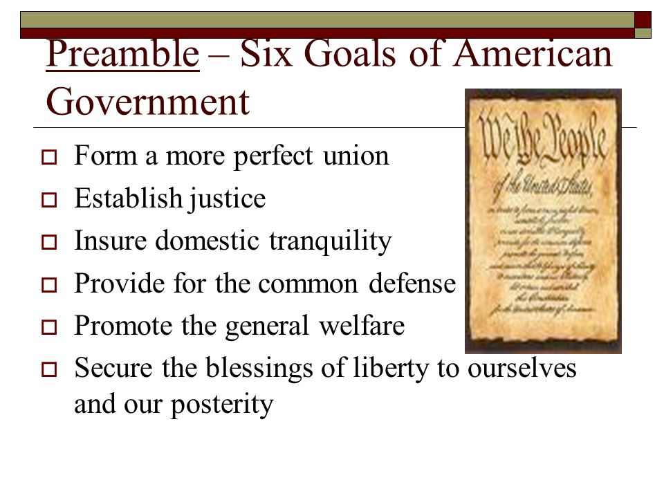 Preamble – Six Goals of American Government