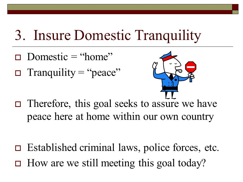 3. Insure Domestic Tranquility